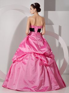 Hot Pink Lace Up Sweet 15 Dress with Black Bowknot and Pick-ups