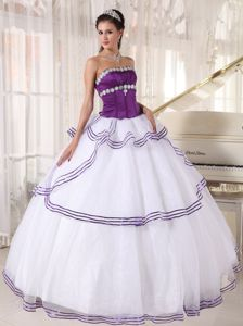 White and Purple Organza Appliqued Dress Quince with Tiers