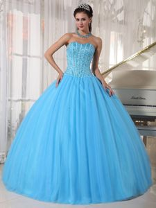 Eye-Catching Sky Blue Pleated Dresses Quinceanera with Pick-ups