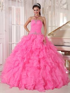 Rose Pink Organza Ruffled Sweet 15 Dresses with Beads Decorate