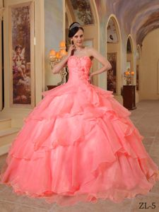 Watermelon Sweetheart Muti-tiered Sweet 15 Dress with Ruffles