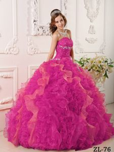2014 Cannes Film Festival Beading Decorate Colorful Quinceanera Dresses with Ruffles