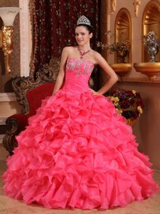Hot Pink Ruched Sweet 15 Dresses with Appliques and Ruffles