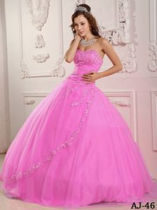 Sweetheart Rose Pink Beading Dress for Quince with Appliques