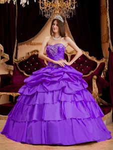 Light Purple Muti-tiered Appliqued Dress Quince with Pick-ups