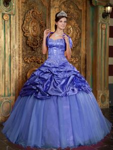 Purple Taffeta and Organza Quinceanera Party Dress with Beading