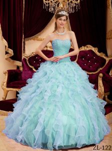 Pretty Beading Ruched Bodice Quinces Dresses with Ruffled Layers