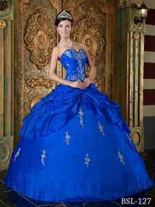 Royal Blue Sweetheart Appliques Taffeta Sweet 15 Dress Wholesale