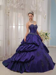 Purple Ball Gown Beading Taffeta Dress for Quince with Pick-ups