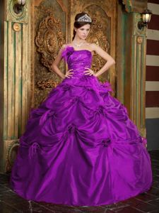 Strapless Beaded Purple Quinceanera Party Dresses with Pick-ups