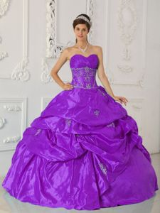Violet Ruche Sweetheart Appliques Dress for Quince with Pick-ups