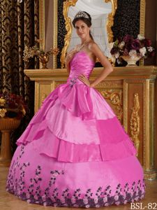 Sweet Ruche Sweetheart Appliques Sweet Sixteen Dress in Hot Pink