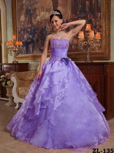 Purple Organza Vestidos De Quinceanera with Appliques and Ruche