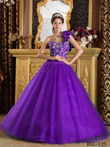 Violet Appliques Beaded Sweet 16 Dress with Hand Made Flowers