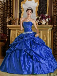 Pick-ups Taffeta Quinceanera Dresses with Appliques in Royal Blue
