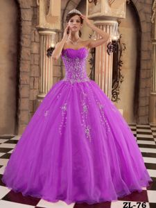Newest Orchid Organza Sweet Sixteen Dress with Beaded Appliques