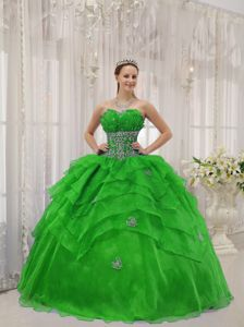 Popular Organza Beaded Ruffles Quinceanera Dress in Spring Green