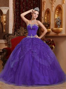 Appliques and Sequins Purple Dress for a Quince in Tulle in Vogue