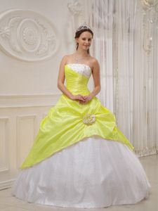 Yellow and White Quinceanera Party Dresses with Beading Hot Sale