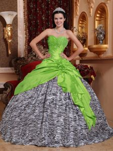 Zebra Printed Beading Quinceanera Dress with Hand Made Flowers