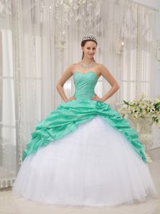 2014 Pick-ups Beaded Sweet 16 Dresses in Apple Green and White