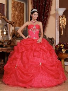 Top Coral Red Organza Pick-ups Dress for Quince with Appliques