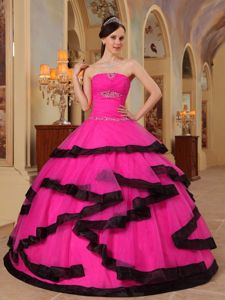 Hot Pink Strapless Organza Quinceanera Party Dress with Beading