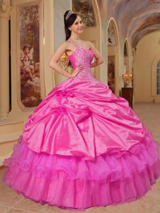 New One Shoulder Appliques Bodice Dress for a Quince in Hot Pink