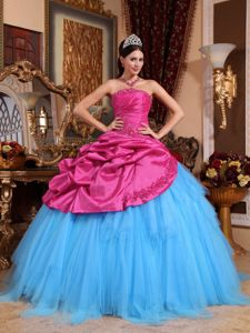 Hot Pink and Blue Pick-ups Dresses for Sweet 16 with Appliques