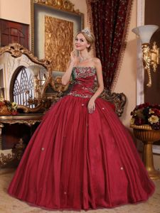 Tulle Wine Red Ball Gown Appliques La Quinceanera Dress in Style
