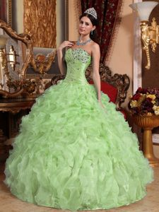 Beaded and Ruched Bodice Ruffles Sweet 16 Dress in Yellow Green