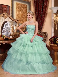 Apple Green Strapless Appliques Quince Dress with Ruffled Layers