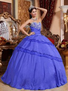 Beaded Appliques Ball Gown Blue Quinceaneras Dresses in Taffeta