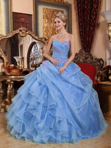Light Blue Sweetheart Quinces Dresses with Appliques and Ruffles