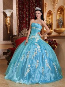 Organza Strapless Aqua Blue Dresses for Sweet 16 with Appliques
