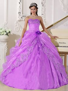 Lavender Appliques Organza Quince Dress with Hand Made Flower