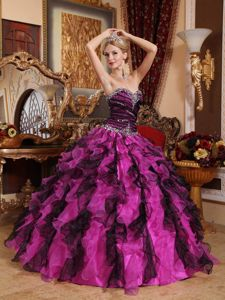 Multi-color Ruffled Quinceanera Dresses Sweetheart with Beading