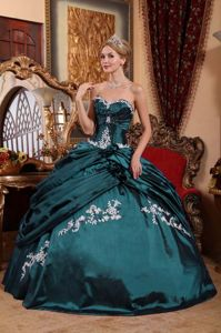2013 New Hunter Green Quinceanera Dress with White Appliques