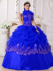 Halter Top Appliqued Royal Blue Sweet Sixteen Dress For Cheap Big Bang Theory dress