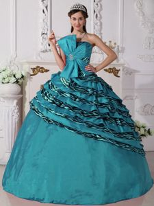 Special Bow Decorate Teal Quince Dress with Zebra Print Hem