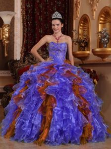 Traditional Sweetheart Ruffled Multi-color Sweet 16 Dress online