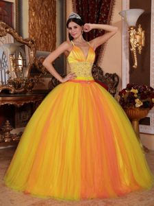 Crisscross Back V-neck Beaded Two-toned Quinceanera Dress