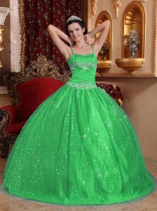 Shimmery Beaded Green Quinceanera Dress with Spaghetti Straps