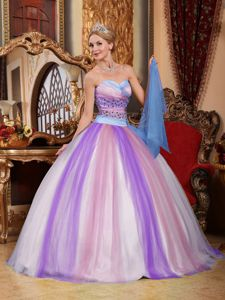 Tulle Sweetheart Beaded Multi-color Dresses for Quince on Sale