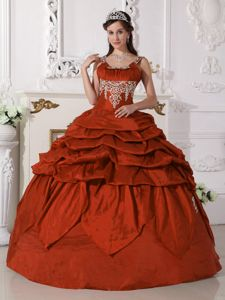 Ball Gown Scoop Appliqued Pick Ups Rust Red Sweet 16 Dress