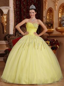 Custom Made Sweetheart Paillette Yellow Quinceanera Dresses