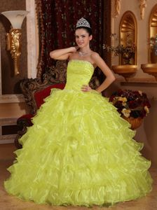Light Yellow Ball Gown Strapless Beaded Ruffled Quinces Dress