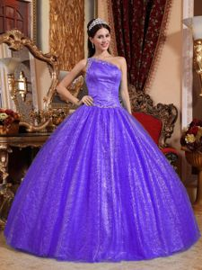 Purple Ball Gown one Shoulder Beaded Sweet Sixteen Dresses
