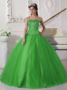 Fast Shipping Cheap Strapless Beaded Green Quinceanera Dresses