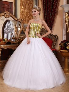 Sequins Corset Back Gold and White Strapless Dress for Sweet 15